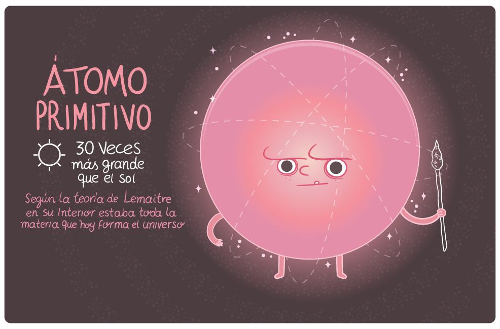 Átomo primitivo. Ciencia y religión. Artículo de Martín Franco Vélez ilustrado por Raeioul.