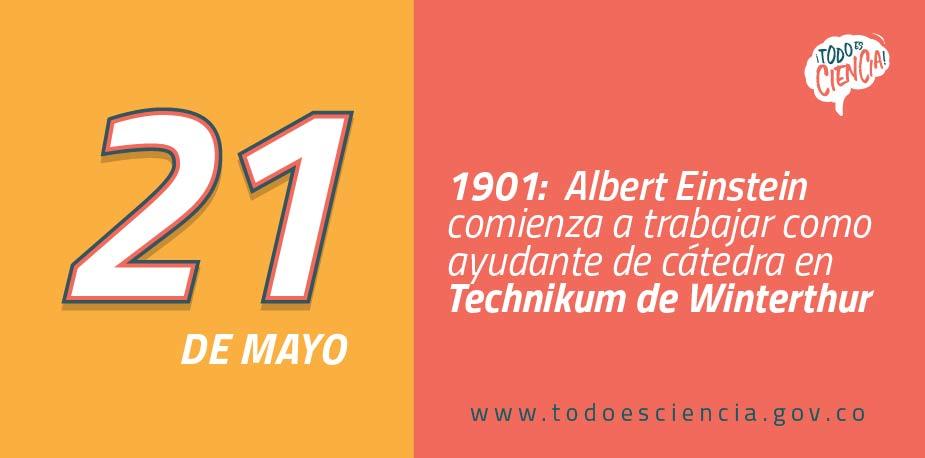 21 de mayo de 1901:  Einstein comienza a trabajar como ayudante de cátedra.