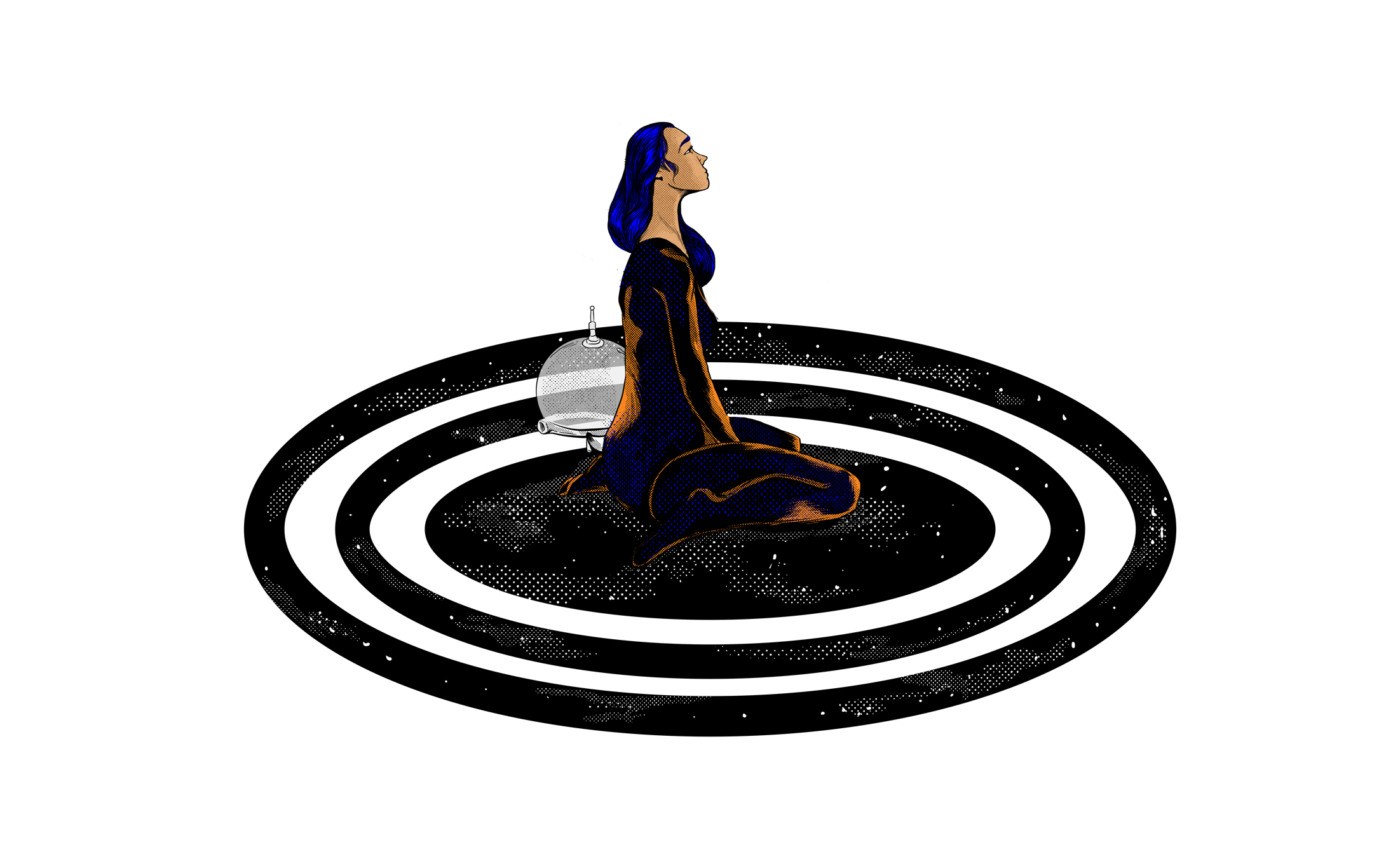 Cuando el tiempo no cabe en la cabeza. Columna de Eduardo Arias ilustrada por Mariana Rojas (La Furys)