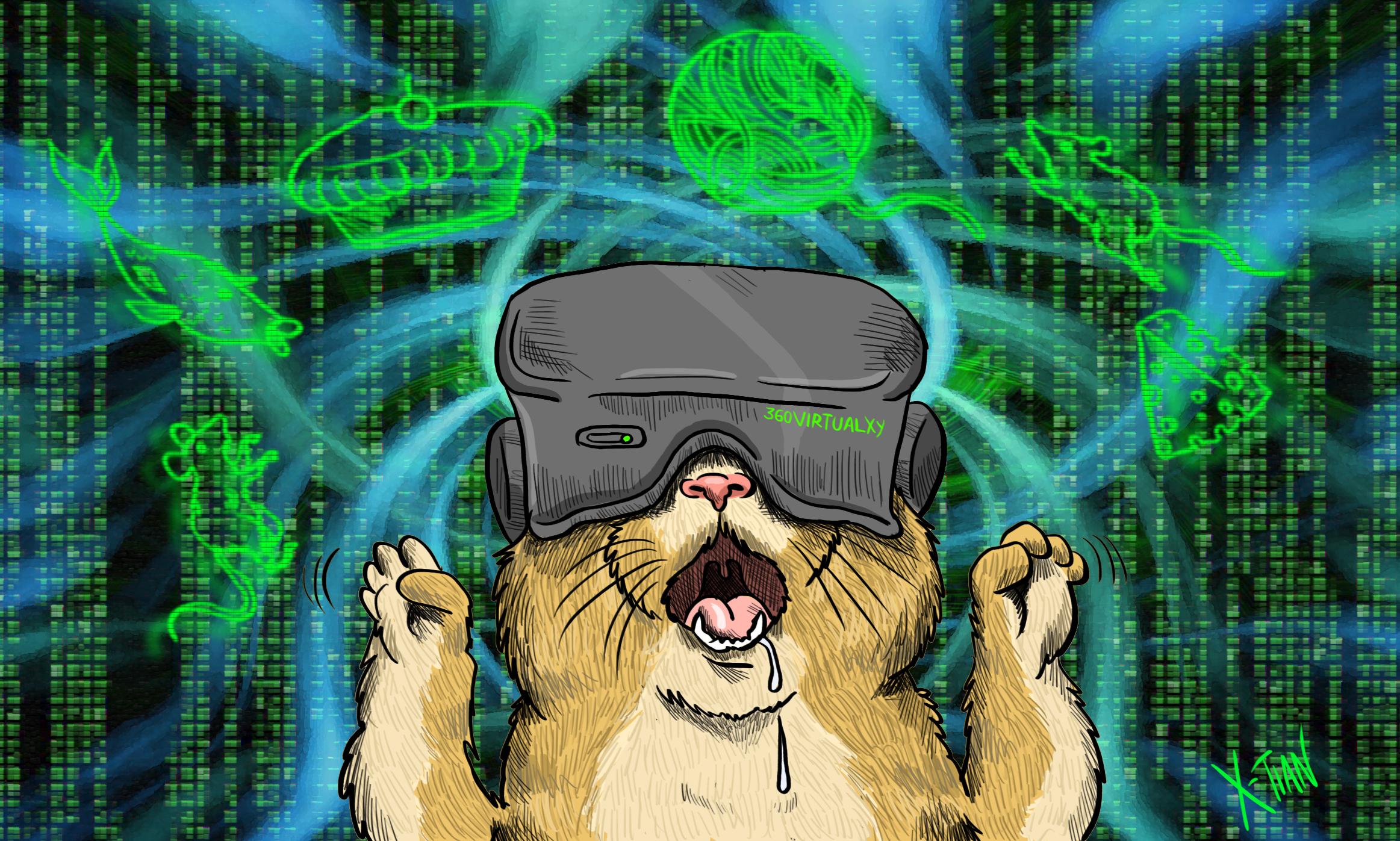 realidad virtual, realidad aumentada y realidad real, ilustración de X-Tian