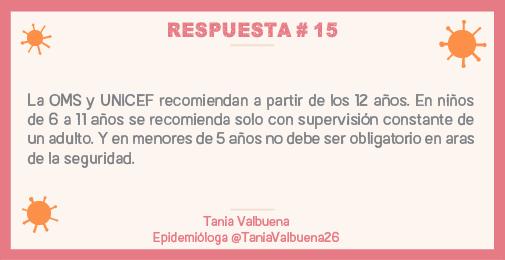 La OMS y UNICEF recomiendan a partir de los 12 años. En niños de 6 a 11 años se recomienda con supervisión constante de un adulto. En menores de 5 años no debe ser obligatorio en aras de la seguridad.