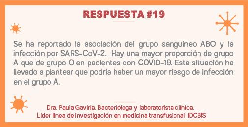 Se ha reportado la asociación del grupo sanguíneo ABO y la infección por SARS-CoV-2. Hay una mayor proporción de grupo A que de grupo O en pacientes con COVID-10. Esta situación ha llevado a plantear que podría haber un mayor riesgo de infección en el grupo A.