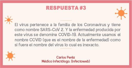 El virus pertenece a la familia de los coronavirus y tiene como nombre SARS-coV2. Y la enfermedad producida por este virus se denomina covid-19,Actualmente usamos el nombre COVID(Que es el nombre de la enfermedad) como si fuera el nombre del virus.