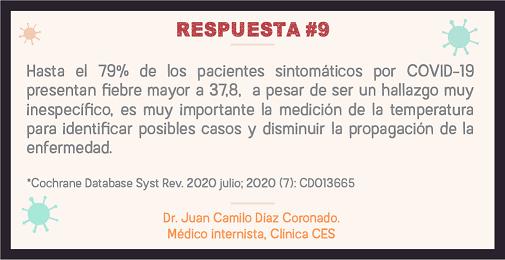 Hasta el 79% de los pacientes sintomáticos por COVID-19 presentan fiebre mayor a 37.8, a pesar de ser un hallazgo muy inespecífico, es muy importante la medición de la temperatura para identificar posibles casos y disminuir la propagación