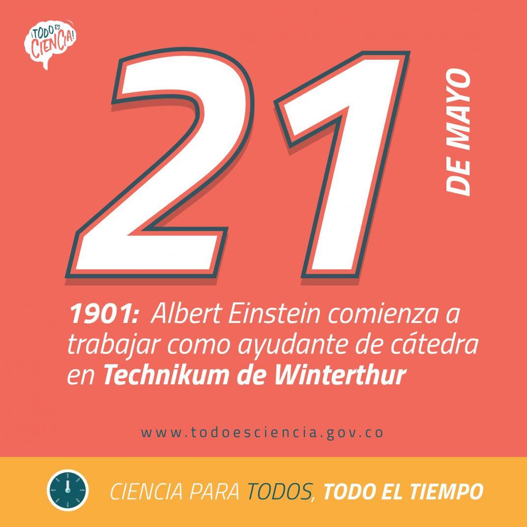 21 de mayo de 1901:  Einstein comienza a trabajar como ayudante de cátedra