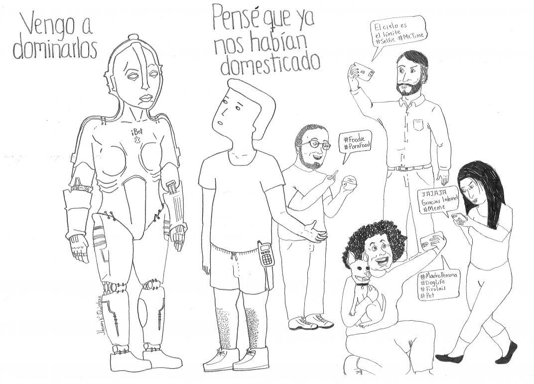 Tips prácticos para cuando las máquinas quieran destruirnos, columna de Andrés Carvajal ilustrada por Jhonny Rodríguez Quintero